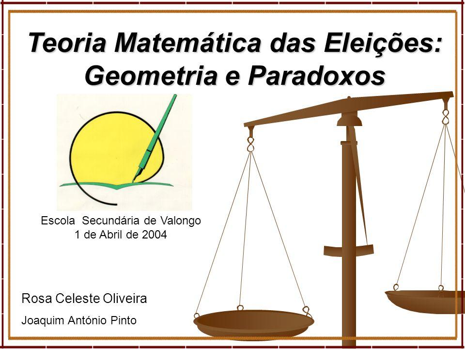 1 Rosa Celeste Oliveira Joaquim António Pinto Teoria Matemática das Eleições: Geometria e Paradoxos Escola Secundária de Valongo 1 de Abril de 2004