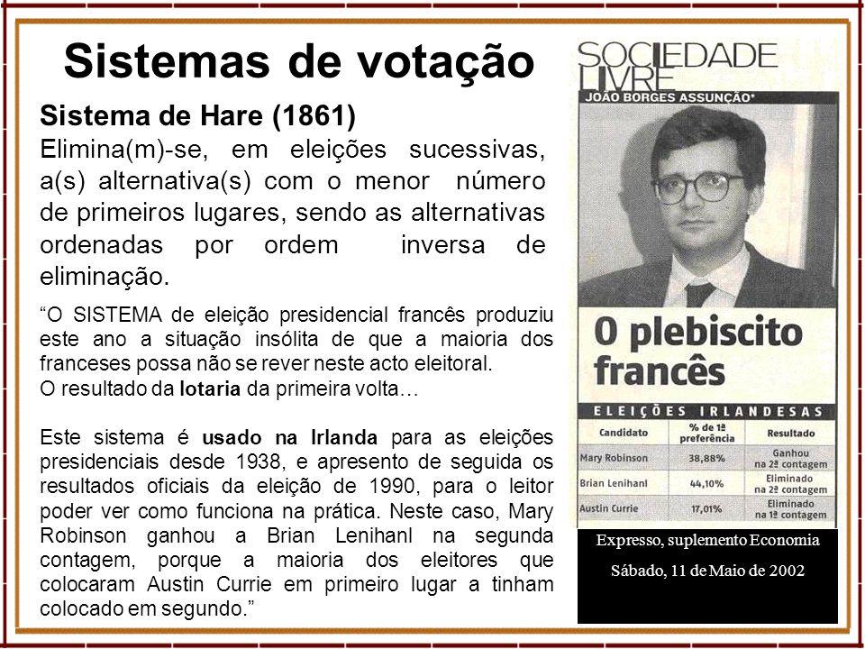 10 Sistemas de votação Expresso, suplemento Economia Sábado, 11 de Maio de 2002 Sistema de Hare (1861) Elimina(m)-se, em eleições sucessivas, a(s) alt