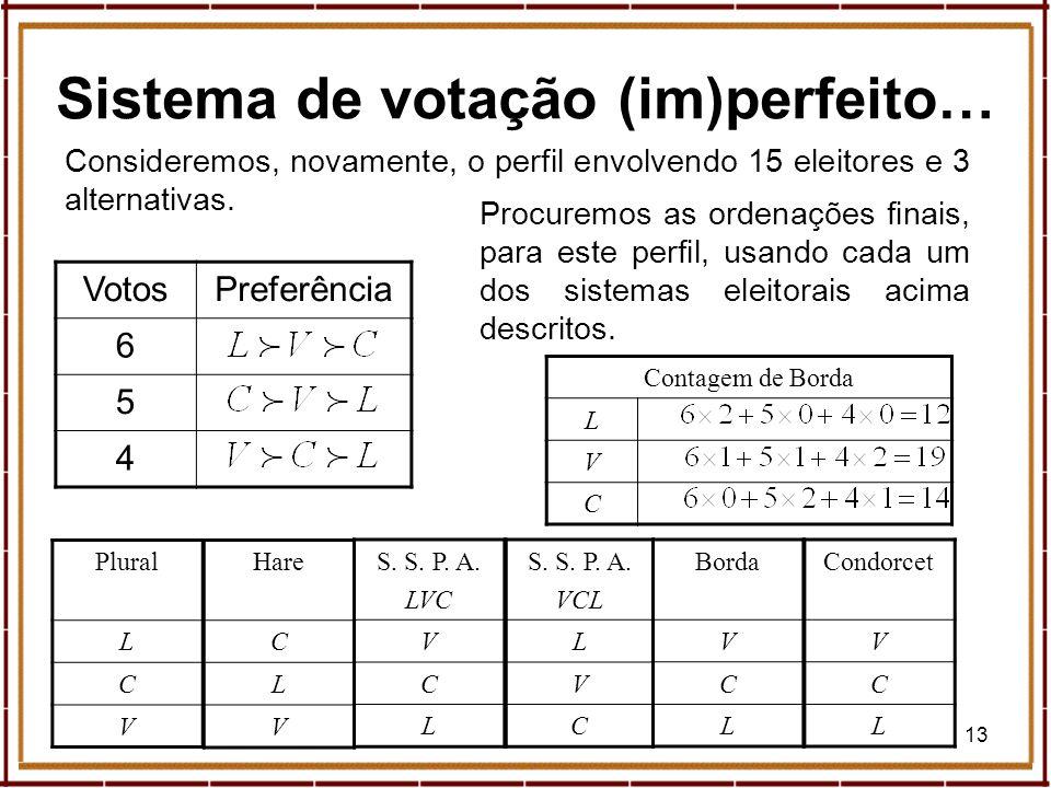 13 Sistema de votação (im)perfeito… VotosPreferência 6 5 4 Consideremos, novamente, o perfil envolvendo 15 eleitores e 3 alternativas. Plural L C V Pr