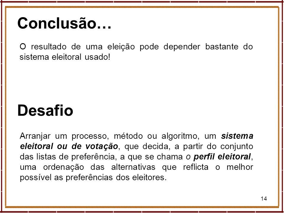 14 Conclusão… Arranjar um processo, método ou algoritmo, um sistema eleitoral ou de votação, que decida, a partir do conjunto das listas de preferênci