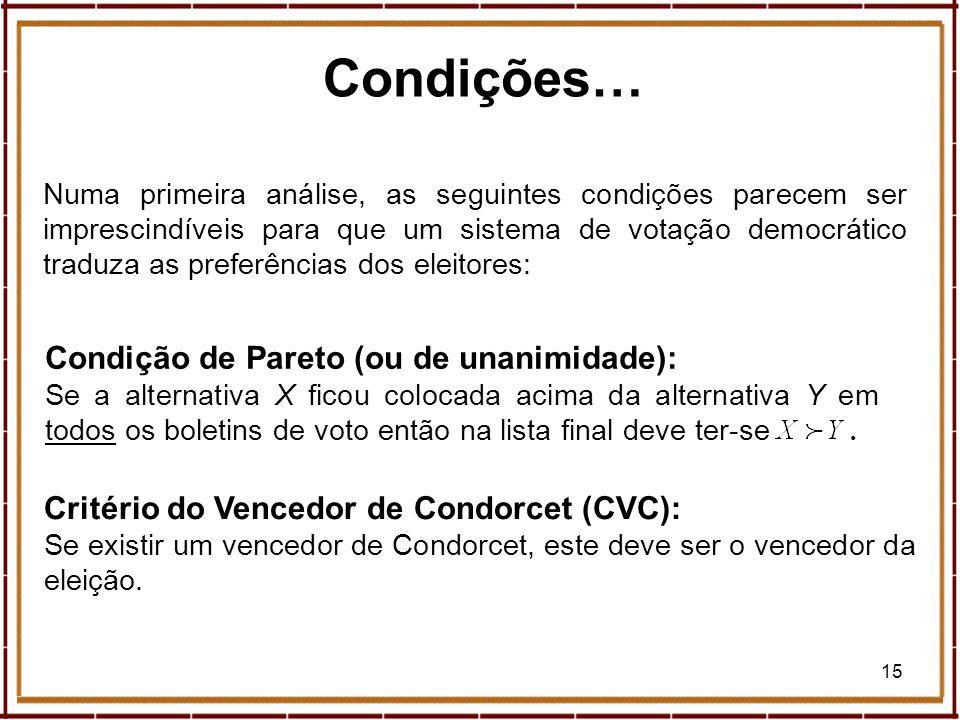 15 Condições… Numa primeira análise, as seguintes condições parecem ser imprescindíveis para que um sistema de votação democrático traduza as preferên