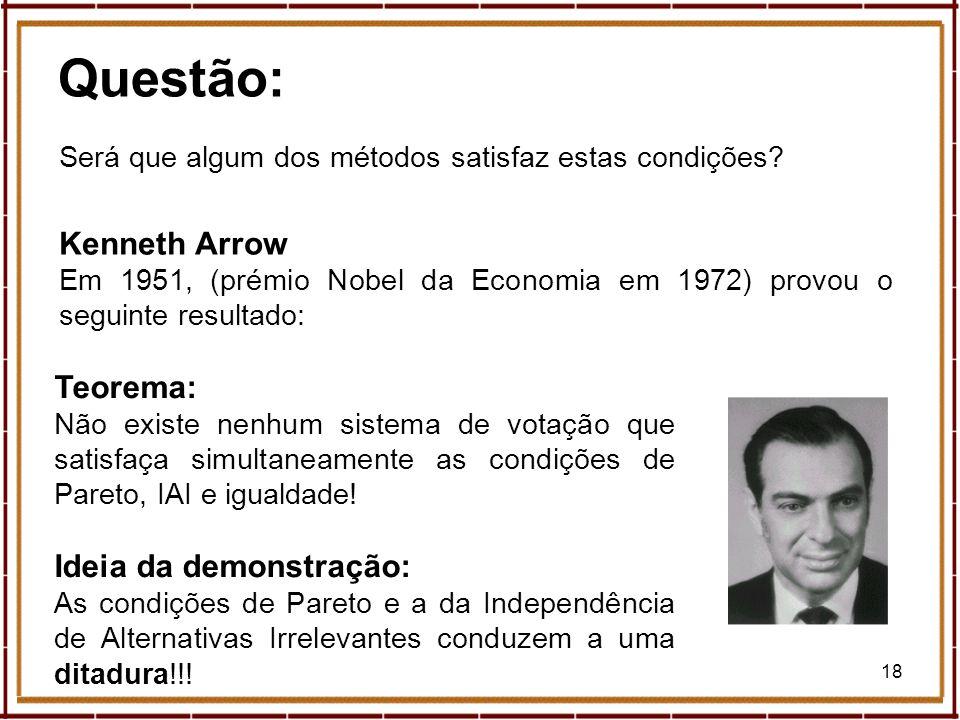 18 Questão: Será que algum dos métodos satisfaz estas condições? Kenneth Arrow Em 1951, (prémio Nobel da Economia em 1972) provou o seguinte resultado