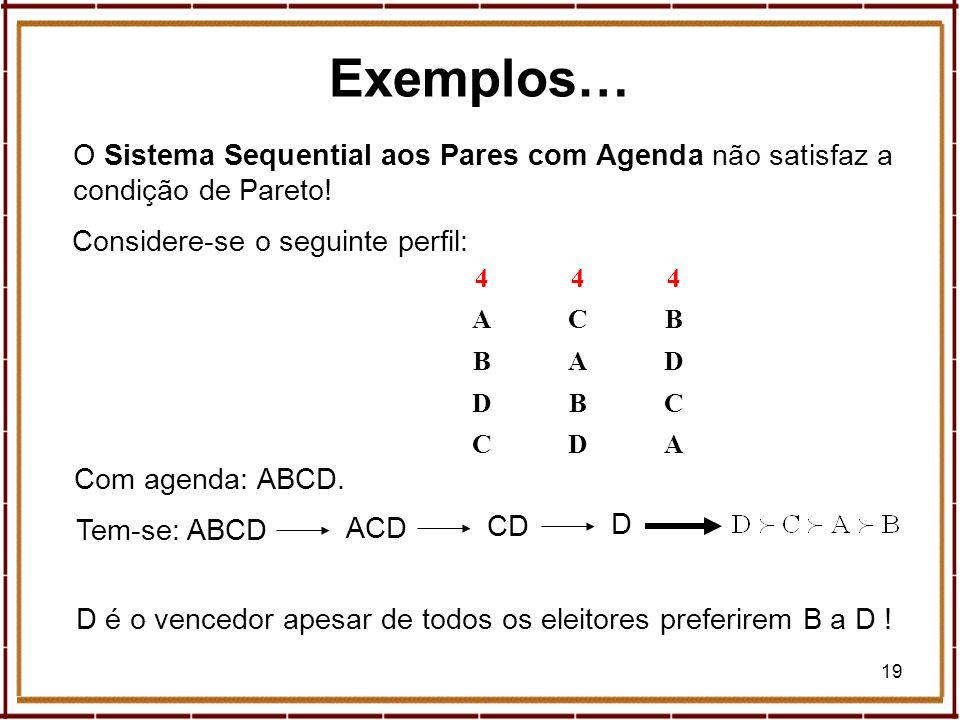 19 Exemplos… O Sistema Sequential aos Pares com Agenda não satisfaz a condição de Pareto! 444 ACB BAD DBC CDA ACD Com agenda: ABCD. Tem-se: ABCD CD D