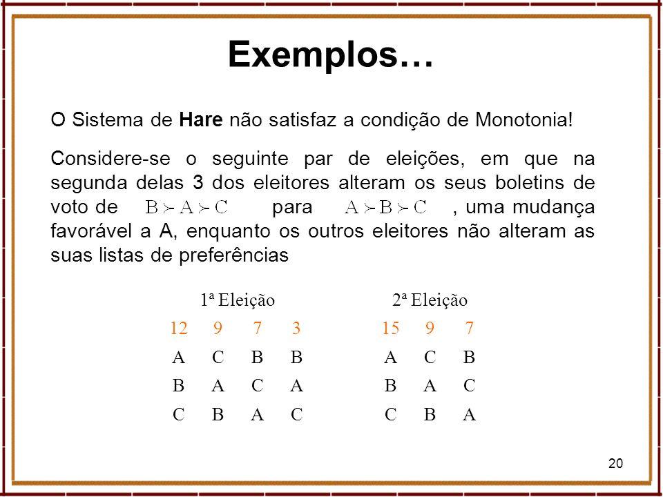20 O Sistema de Hare não satisfaz a condição de Monotonia! Considere-se o seguinte par de eleições, em que na segunda delas 3 dos eleitores alteram os