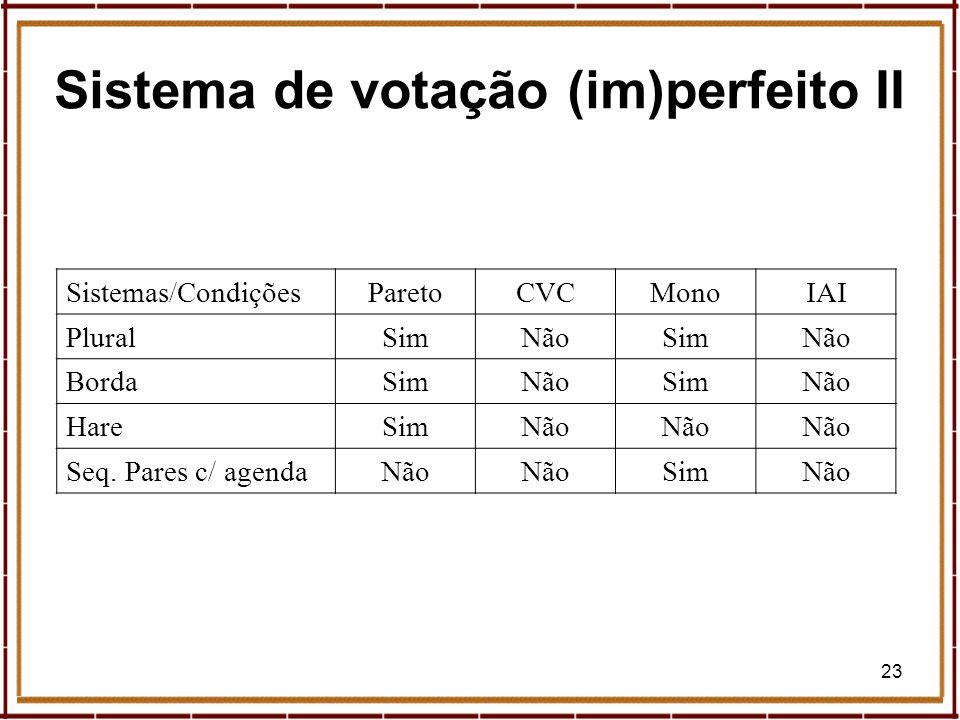 23 Sistema de votação (im)perfeito II Sistemas/CondiçõesParetoCVCMonoIAI PluralSimNãoSimNão BordaSimNãoSimNão HareSimNão Seq. Pares c/ agendaNão SimNã