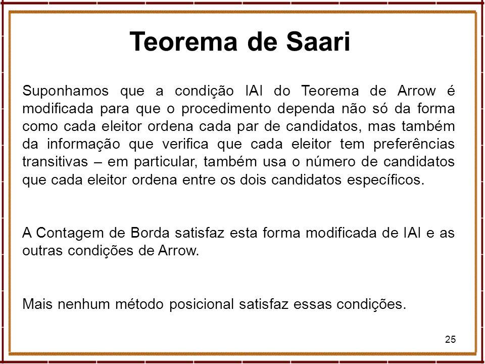 25 Teorema de Saari Suponhamos que a condição IAI do Teorema de Arrow é modificada para que o procedimento dependa não só da forma como cada eleitor o