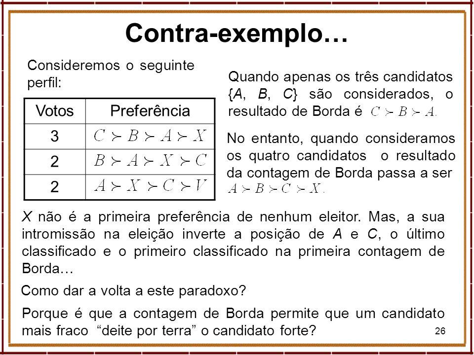 26 Consideremos o seguinte perfil: Contra-exemplo… VotosPreferência 3 2 2 Quando apenas os três candidatos {A, B, C} são considerados, o resultado de