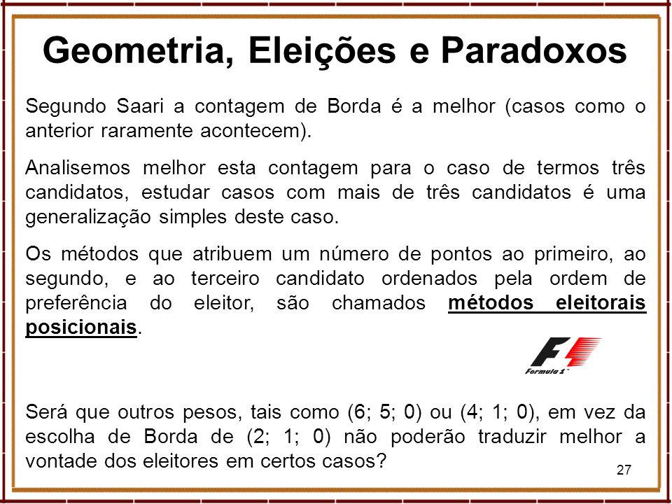 27 Geometria, Eleições e Paradoxos Segundo Saari a contagem de Borda é a melhor (casos como o anterior raramente acontecem). Analisemos melhor esta co