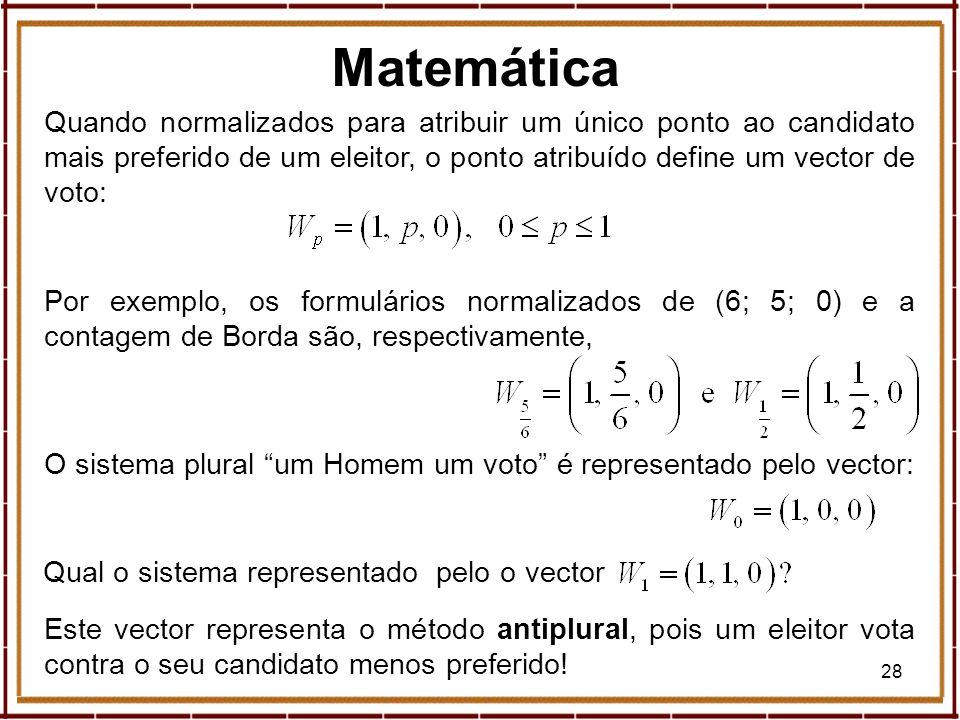 28 Quando normalizados para atribuir um único ponto ao candidato mais preferido de um eleitor, o ponto atribuído define um vector de voto: Por exemplo