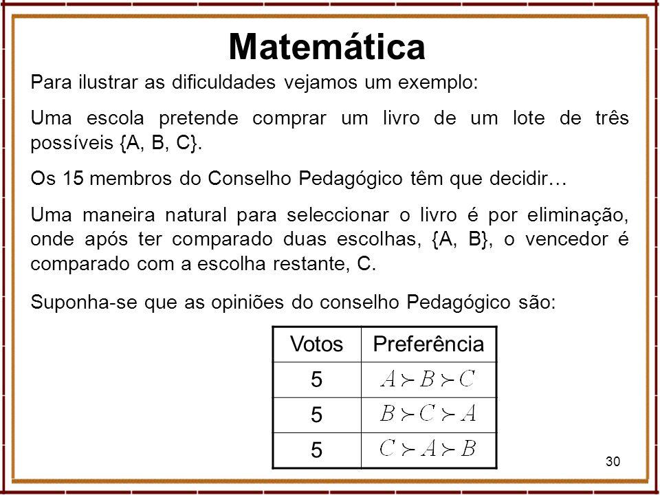 30 Para ilustrar as dificuldades vejamos um exemplo: Uma escola pretende comprar um livro de um lote de três possíveis {A, B, C}. Os 15 membros do Con