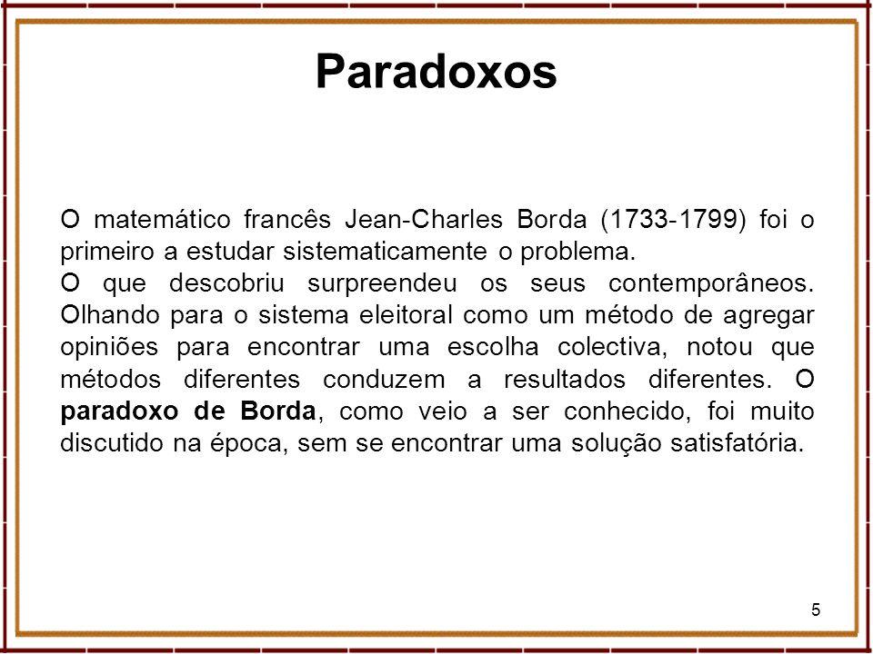 5 O matemático francês Jean-Charles Borda (1733-1799) foi o primeiro a estudar sistematicamente o problema. O que descobriu surpreendeu os seus contem