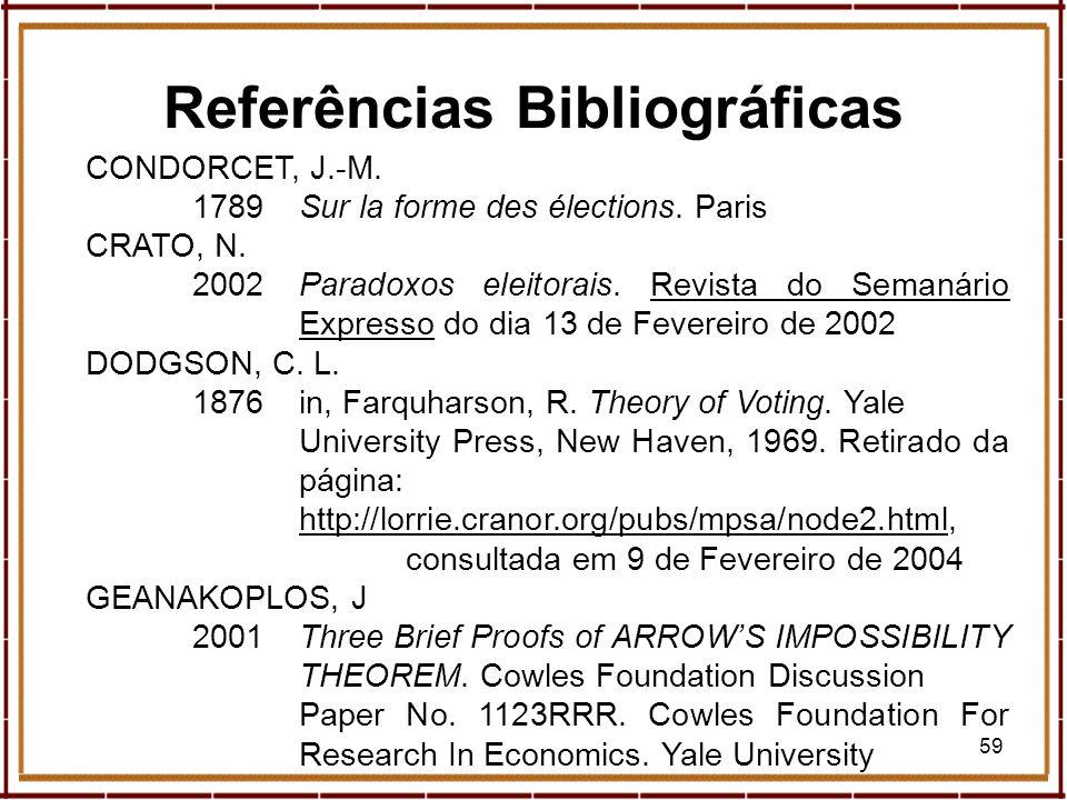 59 CONDORCET, J.-M. 1789Sur la forme des élections. Paris CRATO, N. 2002Paradoxos eleitorais. Revista do Semanário Expresso do dia 13 de Fevereiro de
