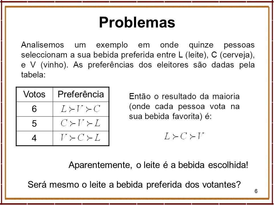 27 Geometria, Eleições e Paradoxos Segundo Saari a contagem de Borda é a melhor (casos como o anterior raramente acontecem).