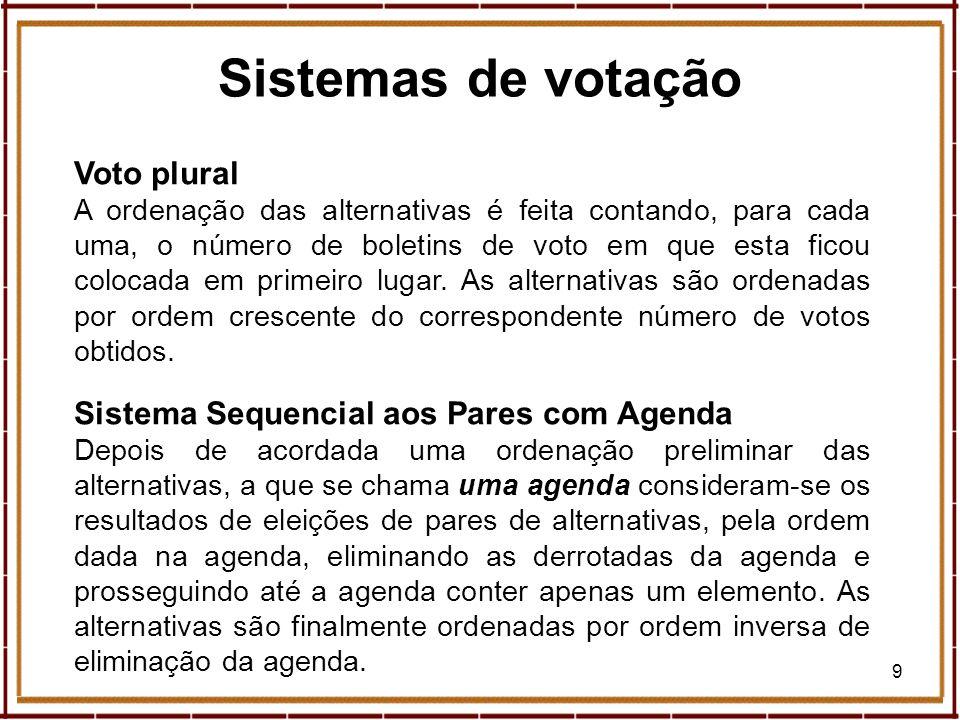 10 Sistemas de votação Expresso, suplemento Economia Sábado, 11 de Maio de 2002 Sistema de Hare (1861) Elimina(m)-se, em eleições sucessivas, a(s) alternativa(s) com o menor número de primeiros lugares, sendo as alternativas ordenadas por ordem inversa de eliminação.
