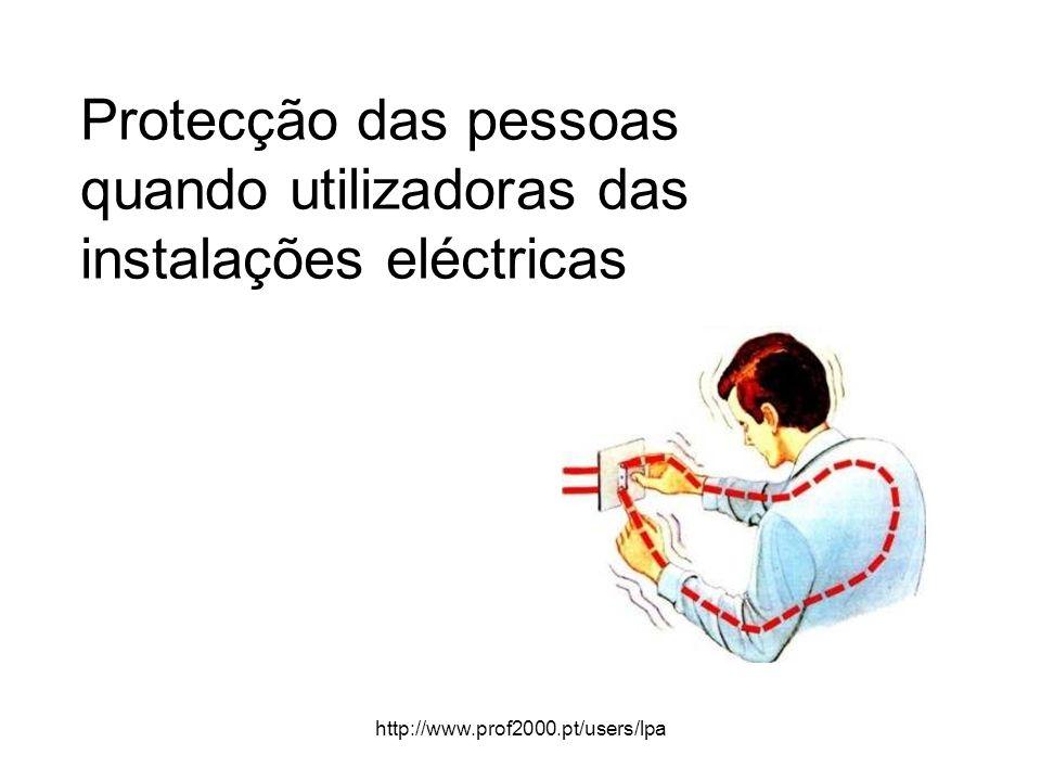 http://www.prof2000.pt/users/lpa Protecção das pessoas quando utilizadoras das instalações eléctricas