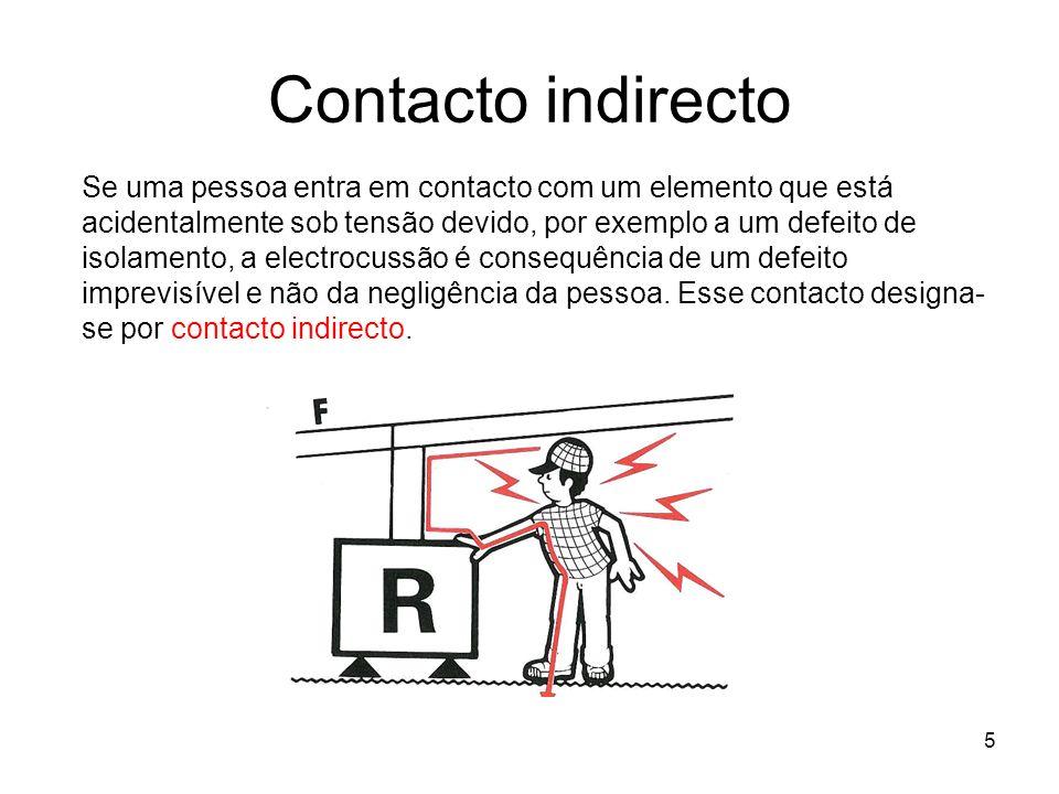 5 Contacto indirecto Se uma pessoa entra em contacto com um elemento que está acidentalmente sob tensão devido, por exemplo a um defeito de isolamento, a electrocussão é consequência de um defeito imprevisível e não da negligência da pessoa.