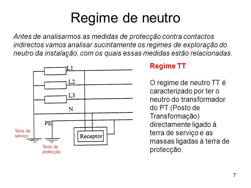 7 Regime de neutro Antes de analisarmos as medidas de protecção contra contactos indirectos vamos analisar sucintamente os regimes de exploração do neutro da instalação, com os quais essas medidas estão relacionadas.