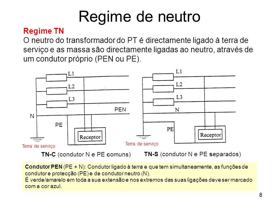8 Regime de neutro Regime TN O neutro do transformador do PT é directamente ligado à terra de serviço e as massa são directamente ligadas ao neutro, através de um condutor próprio (PEN ou PE).