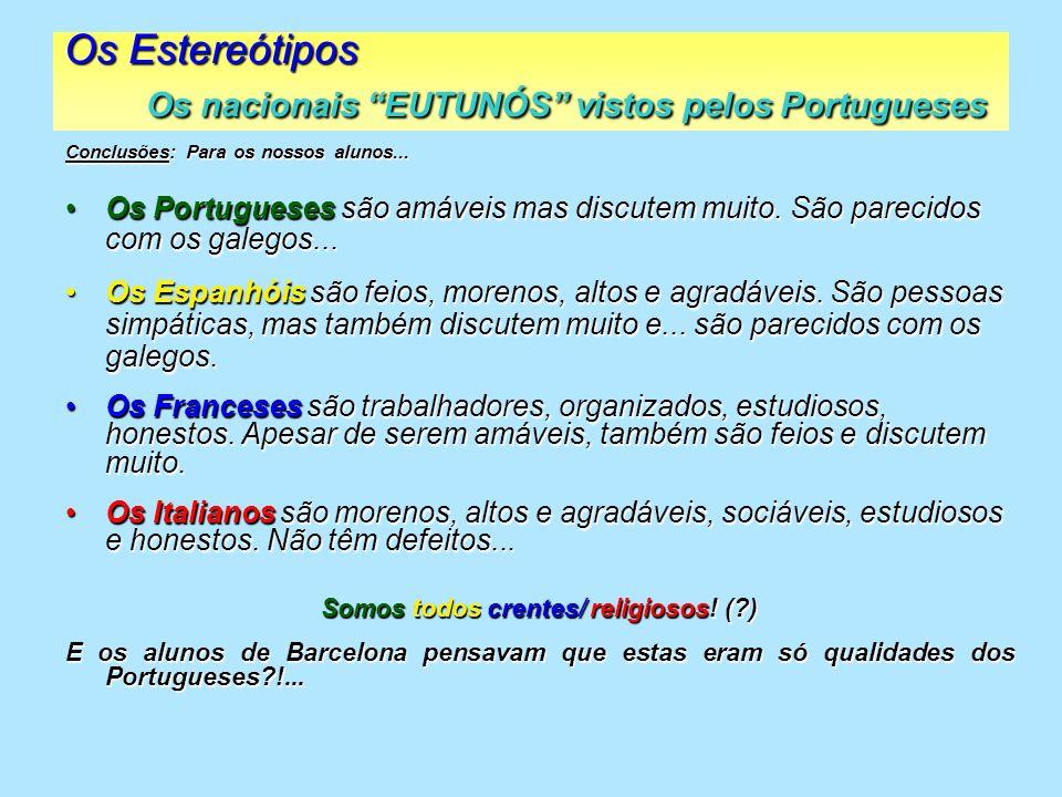 2004/05 OS ESTEREÓTIPOS FIM Nota: Este trabalho reflecte a opinião de 25 alunos da E.S.F.M.P., com idades entre os 13 e os 15 anos.