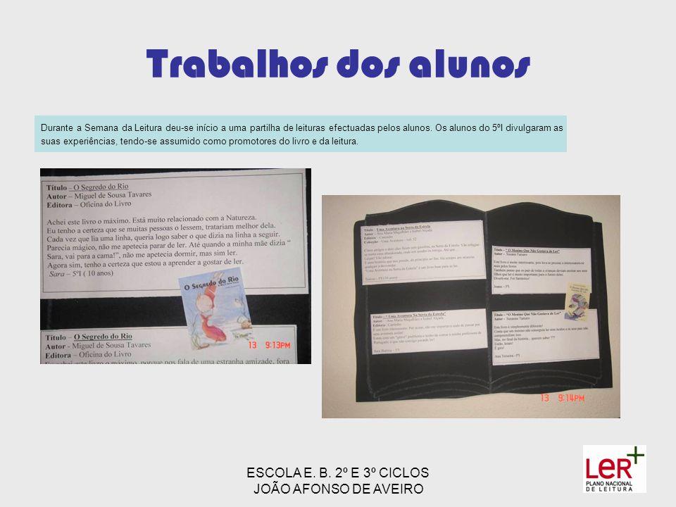 ESCOLA E. B. 2º E 3º CICLOS JOÃO AFONSO DE AVEIRO Trabalhos dos alunos Durante a Semana da Leitura deu-se início a uma partilha de leituras efectuadas