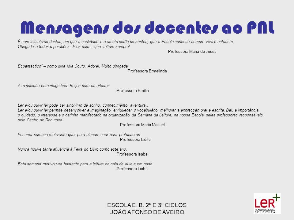 ESCOLA E. B. 2º E 3º CICLOS JOÃO AFONSO DE AVEIRO Mensagens dos docentes ao PNL É com iniciativas destas, em que a qualidade e o afecto estão presente