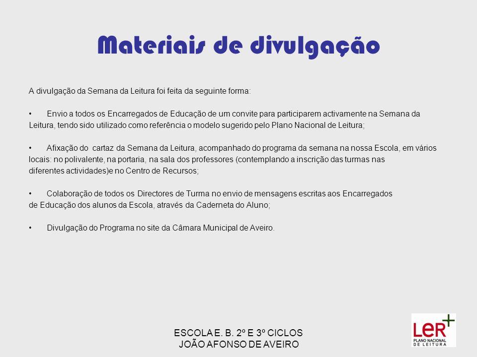 ESCOLA E. B. 2º E 3º CICLOS JOÃO AFONSO DE AVEIRO Materiais de divulgação A divulgação da Semana da Leitura foi feita da seguinte forma: Envio a todos
