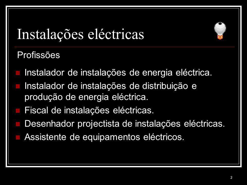 2 Instalações eléctricas Instalador de instalações de energia eléctrica. Instalador de instalações de distribuição e produção de energia eléctrica. Fi