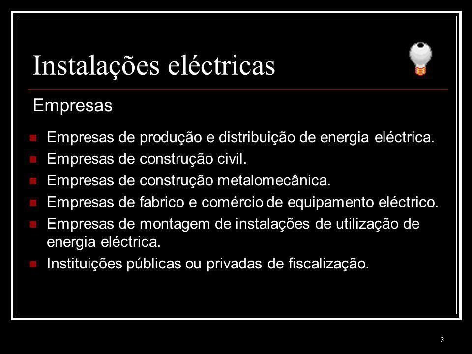 3 Instalações eléctricas Empresas de produção e distribuição de energia eléctrica. Empresas de construção civil. Empresas de construção metalomecânica