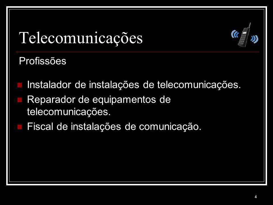 4 Telecomunicações Instalador de instalações de telecomunicações. Reparador de equipamentos de telecomunicações. Fiscal de instalações de comunicação.