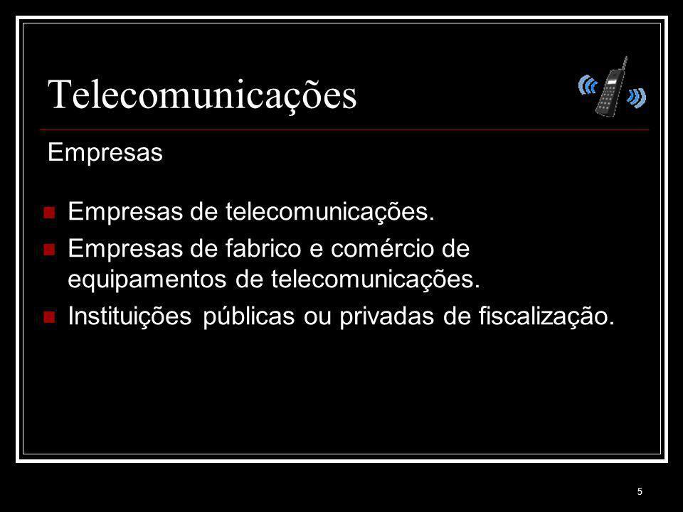 5 Telecomunicações Empresas de telecomunicações. Empresas de fabrico e comércio de equipamentos de telecomunicações. Instituições públicas ou privadas