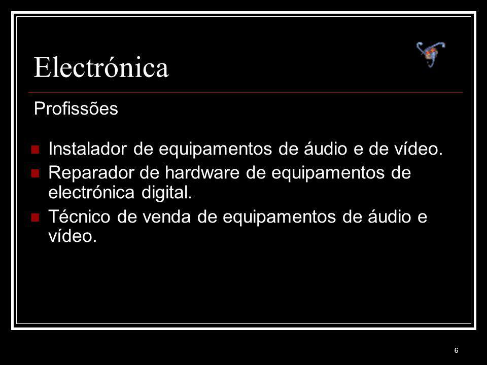 6 Electrónica Instalador de equipamentos de áudio e de vídeo. Reparador de hardware de equipamentos de electrónica digital. Técnico de venda de equipa