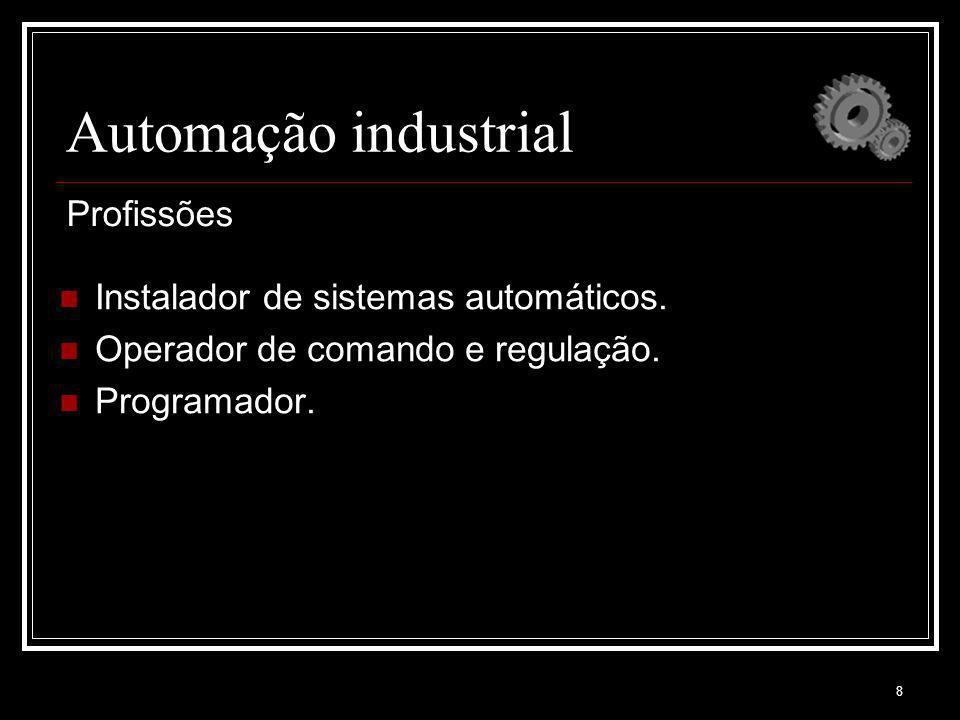 8 Automação industrial Instalador de sistemas automáticos. Operador de comando e regulação. Programador. Profissões