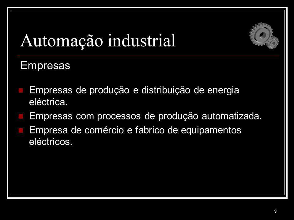 9 Automação industrial Empresas de produção e distribuição de energia eléctrica. Empresas com processos de produção automatizada. Empresa de comércio