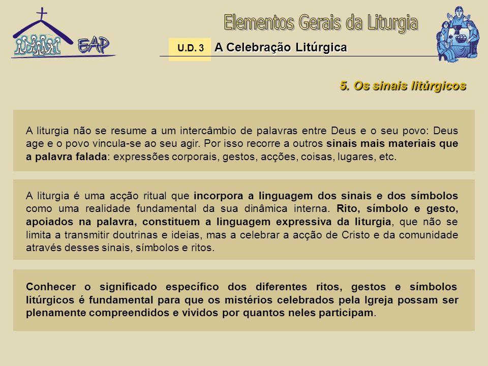 A Celebração Litúrgica U.D. 3 A Celebração Litúrgica 5. Os sinais litúrgicos A liturgia não se resume a um intercâmbio de palavras entre Deus e o seu