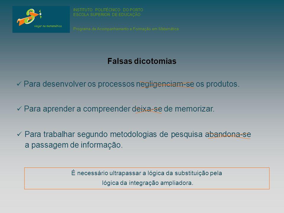 INSTITUTO POLITÉCNICO DO PORTO ESCOLA SUPERIOR DE EDUCAÇÃO Programa de Acompanhamento e Formação em Matemática Para desenvolver os processos negligenciam-se os produtos.