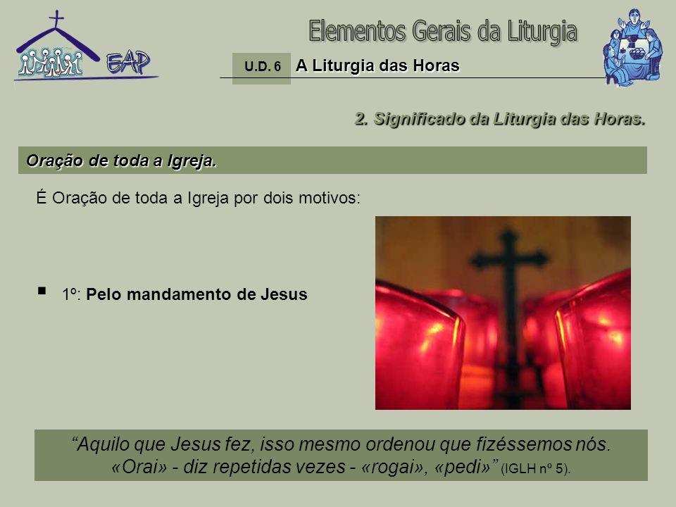 12 1º: Pelo mandamento de Jesus A Liturgia das Horas U.D. 6 A Liturgia das Horas Oração de toda a Igreja. 2. Significado da Liturgia das Horas. Aquilo