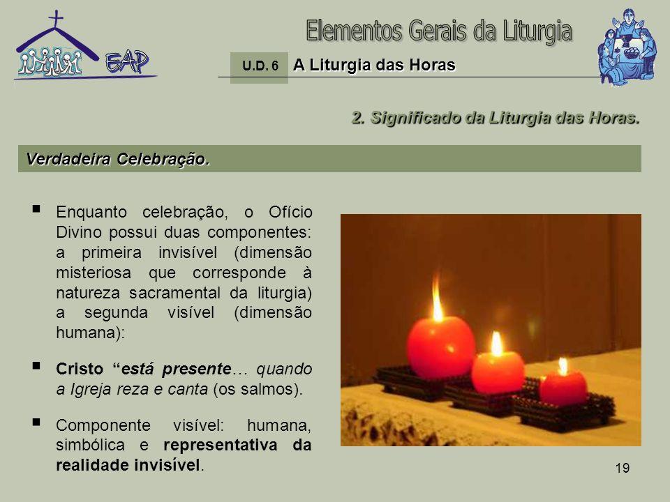 19 Enquanto celebração, o Ofício Divino possui duas componentes: a primeira invisível (dimensão misteriosa que corresponde à natureza sacramental da l