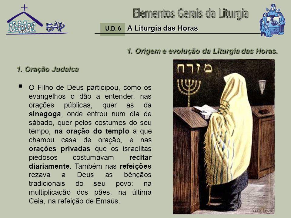 5 1. Origem e evolução da Liturgia das Horas. O Filho de Deus participou, como os evangelhos o dão a entender, nas orações públicas, quer as da sinago
