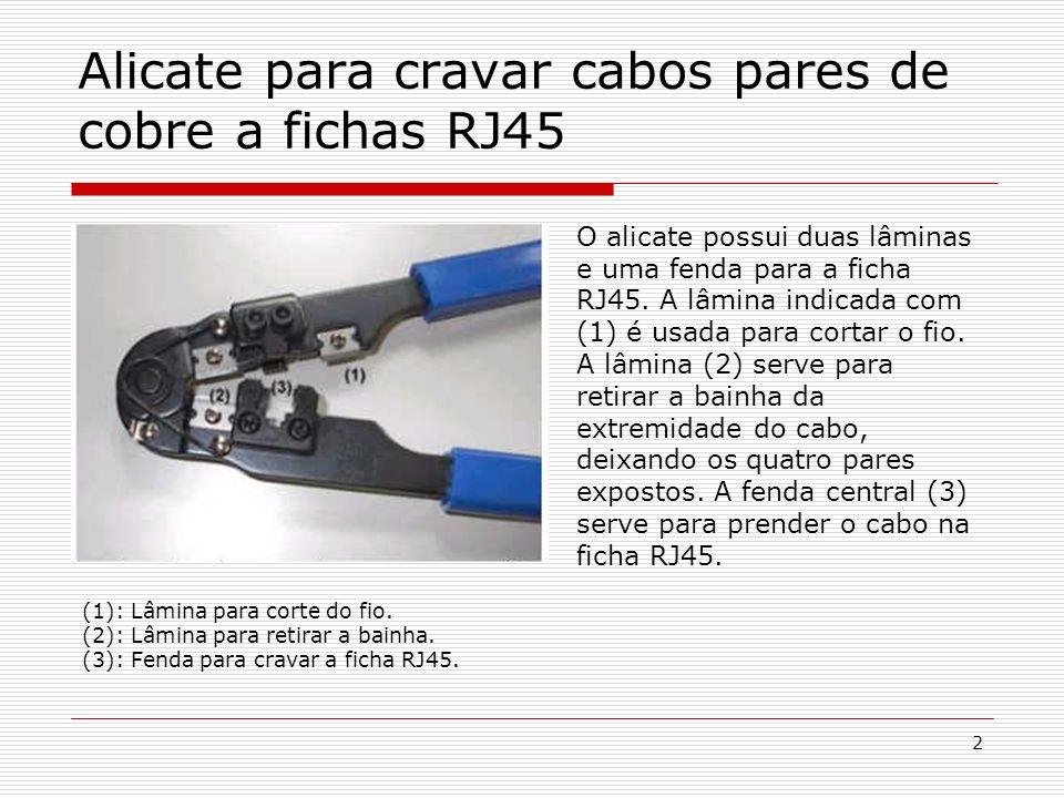 3 Ligação de cabos pares de cobre a fichas RJ45 Corte a ponta do cabo com a parte (2) do alicate do tamanho que você vai precisar, retire a bainha (A lâmina deve cortar superficialmente a bainha, porém sem atingir os fios).