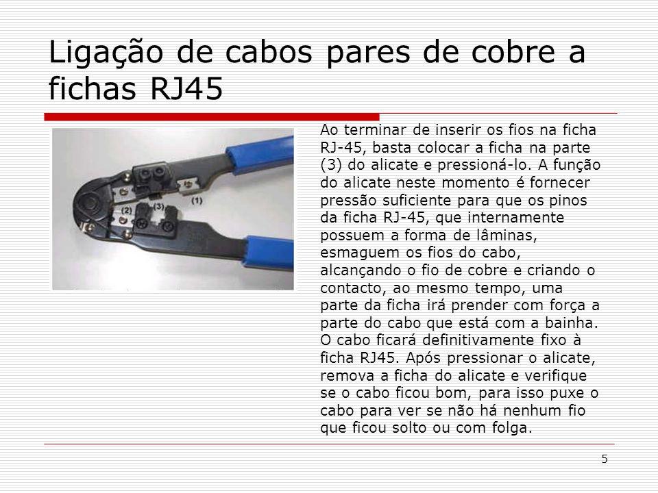 Lucínio Preza de Araújo6 Testar as ligações do cabo pares de cobre às fichas RJ 45 Para testar o cabo é muito fácil utilizando os testadores de cabos disponíveis no mercado.