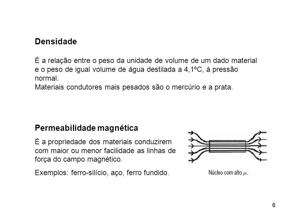 6 Permeabilidade magnética È a propriedade dos materiais conduzirem com maior ou menor facilidade as linhas de força do campo magnético. Exemplos: fer
