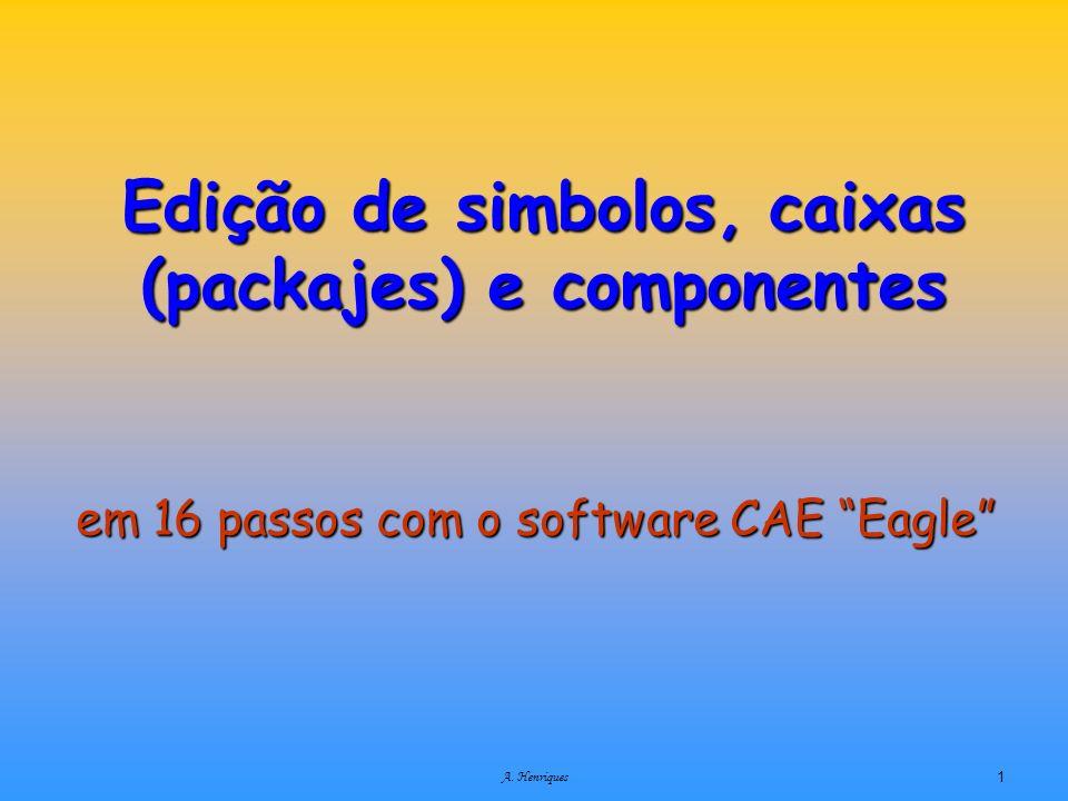 A. Henriques1 Edição de simbolos, caixas (packajes) e componentes em 16 passos com o software CAE Eagle