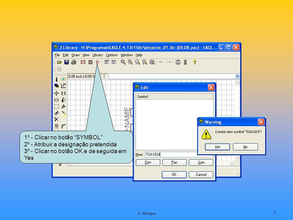 A. Henriques7 1º - Clicar no botão SYMBOL 2º - Atribuir a designação pretendida 3º - Clicar no botão OK e de seguida em Yes
