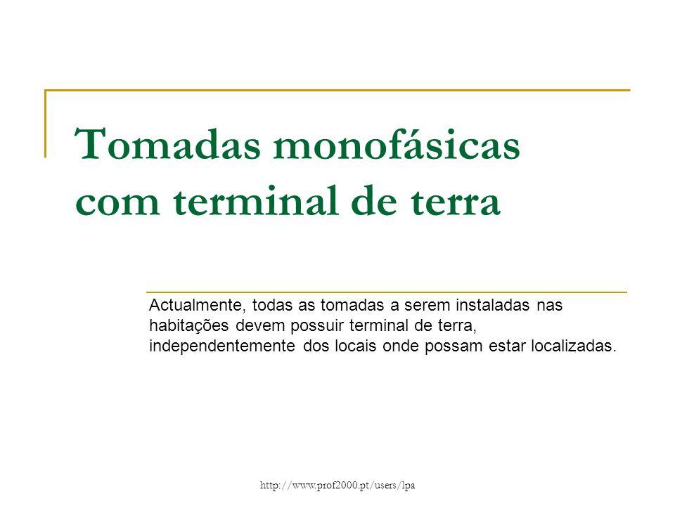 http://www.prof2000.pt/users/lpa Tomadas monofásicas com terminal de terra Actualmente, todas as tomadas a serem instaladas nas habitações devem possu