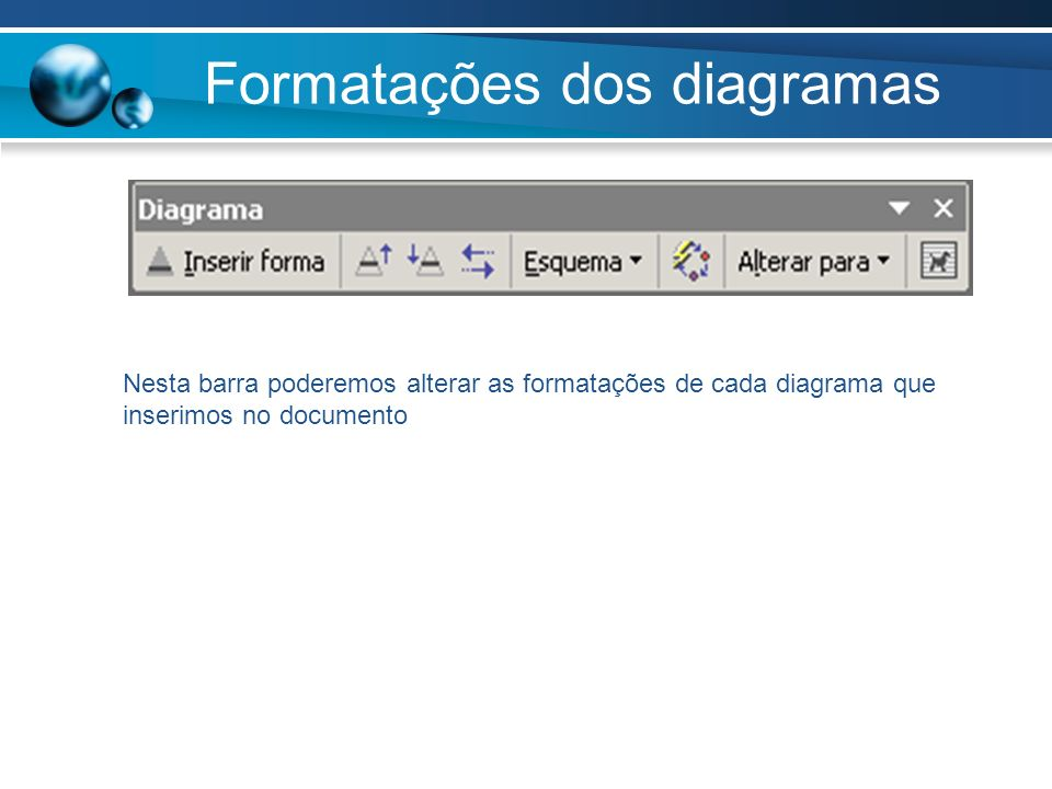 Formatações dos diagramas Nesta barra poderemos alterar as formatações de cada diagrama que inserimos no documento