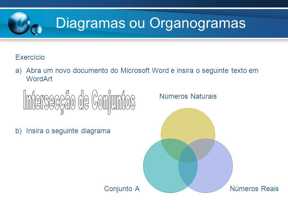 Diagramas ou Organogramas Exercício a)Abra um novo documento do Microsoft Word e insira o seguinte texto em WordArt b)Insira o seguinte diagrama Númer