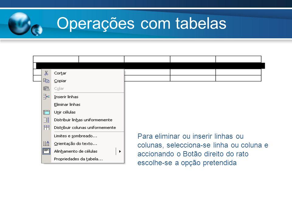 Operações com tabelas Para eliminar ou inserir linhas ou colunas, selecciona-se linha ou coluna e accionando o Botão direito do rato escolhe-se a opçã