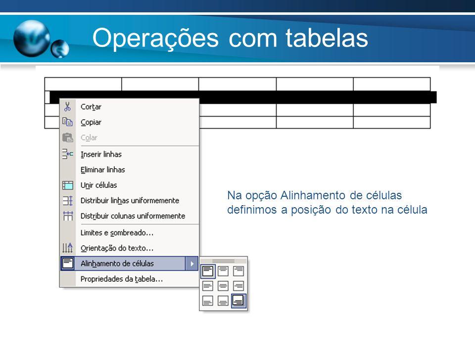 Operações com tabelas Na opção Alinhamento de células definimos a posição do texto na célula