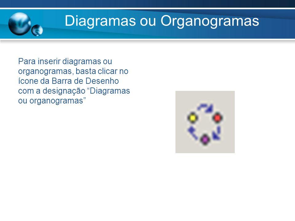 Diagramas ou Organogramas Para inserir diagramas ou organogramas, basta clicar no ícone da Barra de Desenho com a designação Diagramas ou organogramas