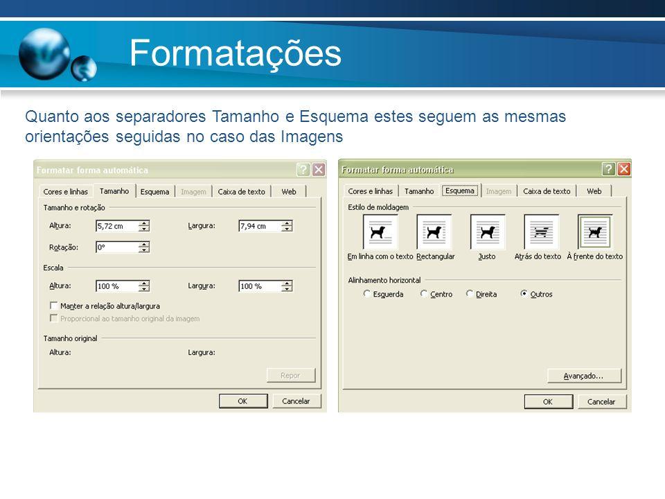 Formatações Quanto aos separadores Tamanho e Esquema estes seguem as mesmas orientações seguidas no caso das Imagens